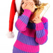 Little girl with christmas gift — Stock fotografie