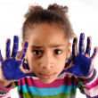 Five year old girl with hands painted — Stock Photo #23645729