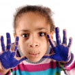 Five year old girl with hands painted - Foto de Stock