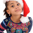 Little girl on christmas isolated in white — Stock Photo