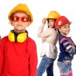 Stock Photo: Little kids engineers