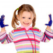 Five year old girl with hands painted — Stock Photo #23647639