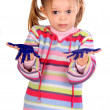 Five year old girl with hands painted — Stock Photo