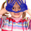 Five year old girl with hands painted — Stock Photo #23647733