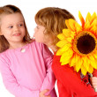 Boy and girl with flower — Stock Photo