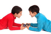 Little boys playing video games — Stock Photo