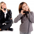 Stock Photo: Young woman with telephone