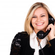 Young woman with telephone — Stock Photo