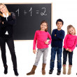 Teacher with students isolated on white - Stock Photo