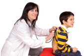 Female doctor with boy — Foto Stock