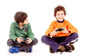 Boys playing videogames — Stock Photo