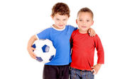 Boys with soccer ball — Stock Photo