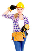Kobieta konstruktor — Zdjęcie stockowe