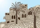 древние каменные дома древние каменные дома — Cтоковый вектор