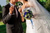 Wedding glasses with champagne — Stock Photo