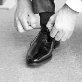 Groom shoes — Stock fotografie