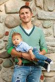 Vader met baby — Stockfoto