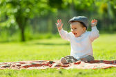 Baby playing in the park — Stock Photo