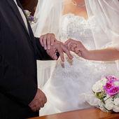 Wedding ring exchange — Stock Photo