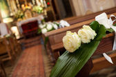 Beautiful flower wedding decoration in a church — Stock Photo