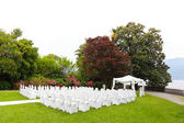 Wedding ceremony in a beautiful garden — Stock fotografie