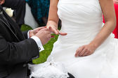 Wedding ring exchange — Stock Photo
