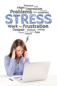 Business woman is sitting in front of a laptop under stress emot — Stock Photo