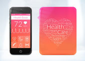 Health book application for smartphone with word cloud sticker — Stockfoto