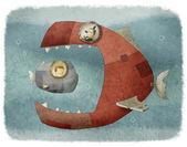 Grote vis eten kleine vissen — Stockfoto