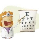 Female oculist doctor pointing on a eyesight test chart — Stock Photo