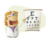 Female oculist doctor pointing on a eyesight test chart — Stock Photo