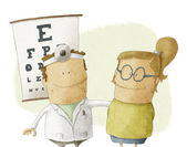 Family visits oculist doctor — Stock Photo