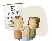 Familiebezoek oculist arts — Stockfoto