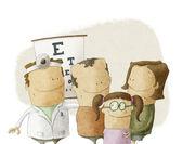 Família visita médico oftalmologista — Foto Stock