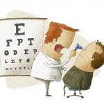 oogarts onderzoekt patiënt — Stockfoto