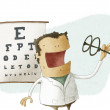 Stock Photo: Ophthalmologist take glasses