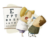 Female ophthalmologist examines patient — Zdjęcie stockowe