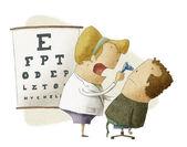 Feminina oftalmologista examina paciente — Foto Stock