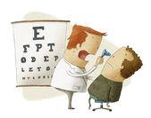 офтальмолог исследует пациента — Стоковое фото