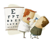 Ophthalmologist examines patient — 图库照片
