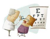 Augenarzt aufsetzen brille einer patientin — Stockfoto