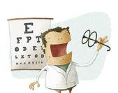 Oftalmolog vzít brýle — Stock fotografie