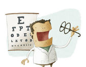 Ophthalmologist take glasses — Stok fotoğraf