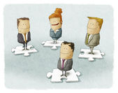 Business people pieces puzzle — Stok fotoğraf