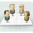 Business people pieces puzzle — Stock Photo