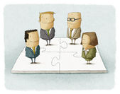 Business people pieces puzzle — Foto de Stock