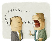 Angry boss with employee — Foto de Stock