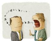 Rozzlobený šéf s zaměstnance — Stock fotografie