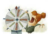 Success failure in wheel of fortune — Stock Photo