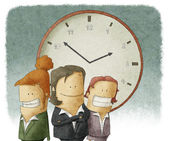 Business people with clock — Stock Photo